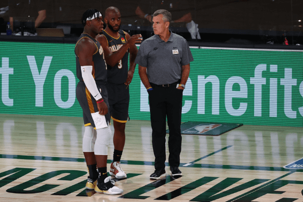 Aug 3, 2020; Lake Buena Vista, Florida, USA; Oklahoma City Thunder guard Chris Paul (3) talks with head coach Billy Donovan and guard Luguentz Dort (5) during the third quarter in a NBA basketball game against the Denver Nuggets at The Arena.