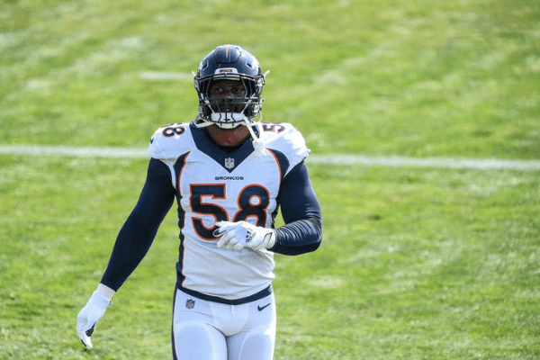 ENGLEWOOD, CO - AUGUST 20: Linebacker Von Miller #58 of the Denver Broncos participates in a drill during a training session at UCHealth Training Center on August 20, 2020 in Englewood, Colorado.