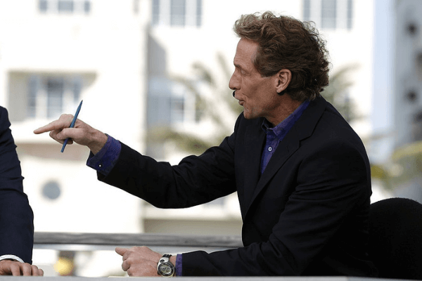 Cold Pizza host Skip Bayless on the ESPN set in Miami, Florida on February 1, 2007.