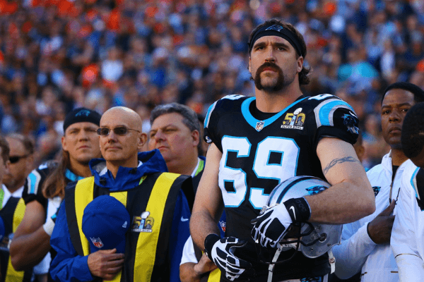 Feb 7, 2016; Santa Clara, CA, USA; Carolina Panthers defensive end Jared Allen (69) against the Denver Broncos in Super Bowl 50 at Levi's Stadium.