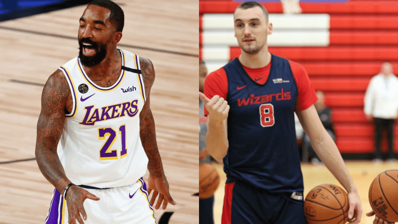 Sam Dekker of the Washington Wizards and J.R. Smith of the Los Angeles Lakers