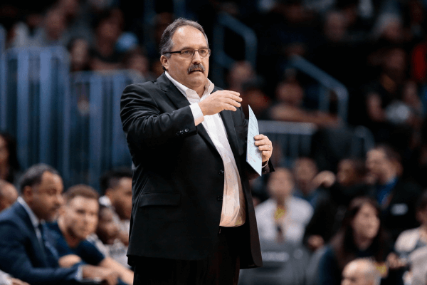 Mar 15, 2018; Denver, CO, USA; Detroit Pistons head coach Stan Van Gundy reacts in the second quarter against the Denver Nuggets at the Pepsi Center.