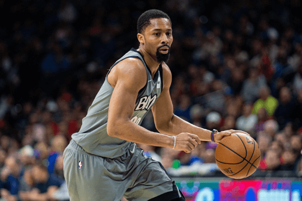 Feb 20, 2020; Philadelphia, Pennsylvania, USA; Brooklyn Nets guard Spencer Dinwiddie (26) in action against the Philadelphia 76ers during the third quarter at Wells Fargo
