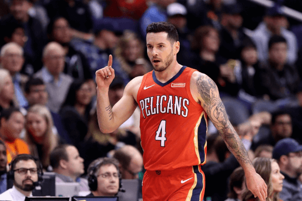 Nov 21, 2019; Phoenix, AZ, USA; New Orleans Pelicans guard JJ Redick celebrates a first quarter three pointer against the Phoenix Suns at Talking Stick Resort Arena.