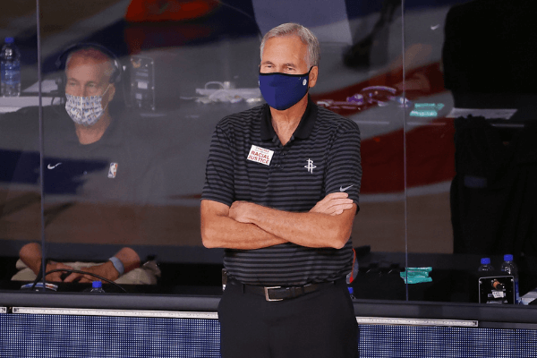 Aug 4, 2020; Lake Buena Vista, USA; Head coach Mike D'Antoni of the Houston Rockets reacts against the Portland Trail Blazers during the first half at The Arena at ESPN Wide World Of Sports Complex on August 04, 2020 in Lake Buena Vista, Florida.