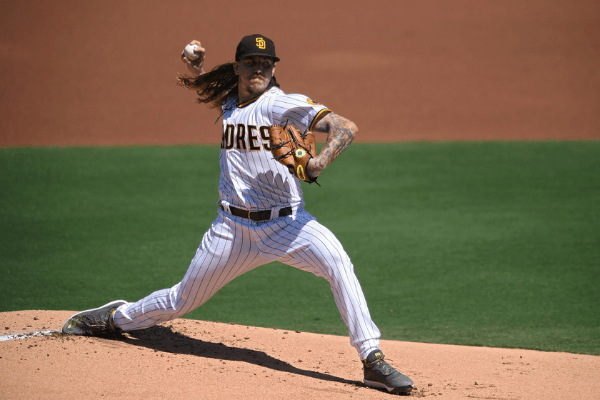 Sep 23, 2020; San Diego, California, USA; San Diego Padres starting pitcher Mike Clevinger (52) pitches during the first inning against the Los Angeles Angels at Petco Park.