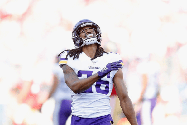 Trae Waynes #26 of the Minnesota Vikings reacts after a play in the first quarter of the NFC Divisional Round Playoff game against the San Francisco 49ers at Levi's Stadium on January 11, 2020 in Santa Clara, California.