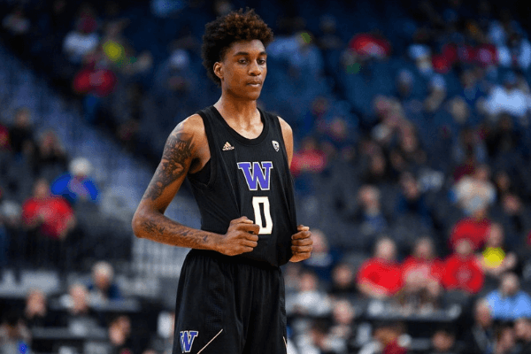 LAS VEGAS, NV - MARCH 11: Washington Huskies forward Jaden McDaniels (0) looks on during the first round game of the men's Pac-12 Tournament between the Arizona Wildcats and the Washington Huskies on March 11, 2020, at the T-Mobile Arena in Las Vegas, NV. (Photo by Brian Rothmuller/Icon Sportswire via Getty Images)