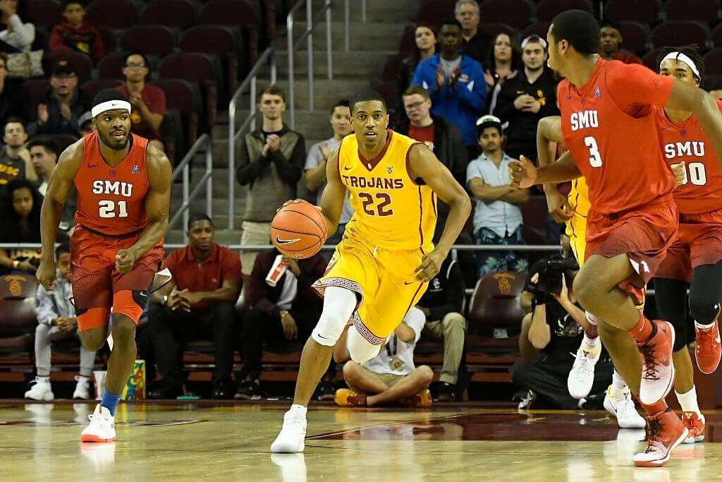 USC guard DeAnthony Melton (22) brings the ball up the court during an NCAA basketball game between the SMU Mustangs and the USC Trojans on November 25, 2016, at the Galen Center in Los Angeles, CA.