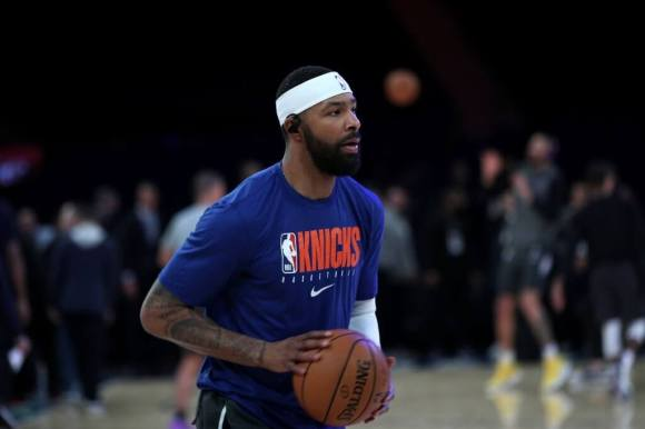 Marcus Morris Sr. of New York Knicks warms up prior to NBA match between the Los Angeles Lakers and the New York Knicks at Madison Square Garden in New York, United States on January 22, 2020.