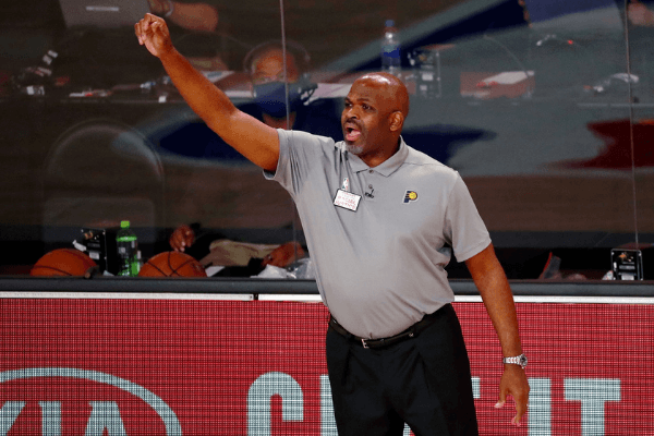 Aug 22, 2020; Lake Buena Vista, Florida, USA; Indiana Pacers head coach Nate McMillan on the sideline during the second half of Game 3 of an NBA basketball first-round playoff series against the Miami Heat at AdventHealth Arena.