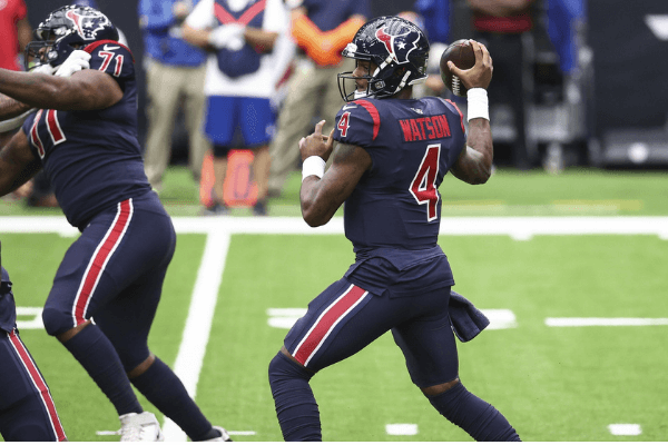 Oct 25, 2020; Houston, Texas, USA; Houston Texans quarterback Deshaun Watson (4) attempts a pass during the first quarter against the Green Bay Packers at NRG Stadium.
