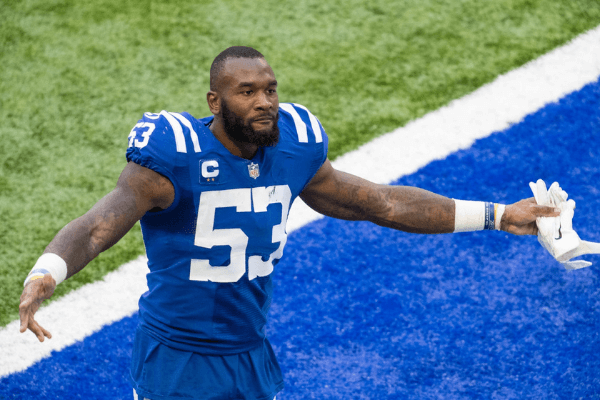 Sep 20, 2020; Indianapolis, Indiana, USA; Indianapolis Colts outside linebacker Darius Leonard (53) celebrates the win over the Minnesota Vikings after the game at Lucas Oil Stadium.