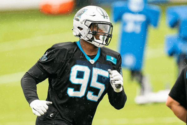 Derrick Brown #95 of the Carolina Panthers during the Carolina Panthers Training Camp at Bank of America Stadium on August 21, 2020 in Charlotte, North Carolina.