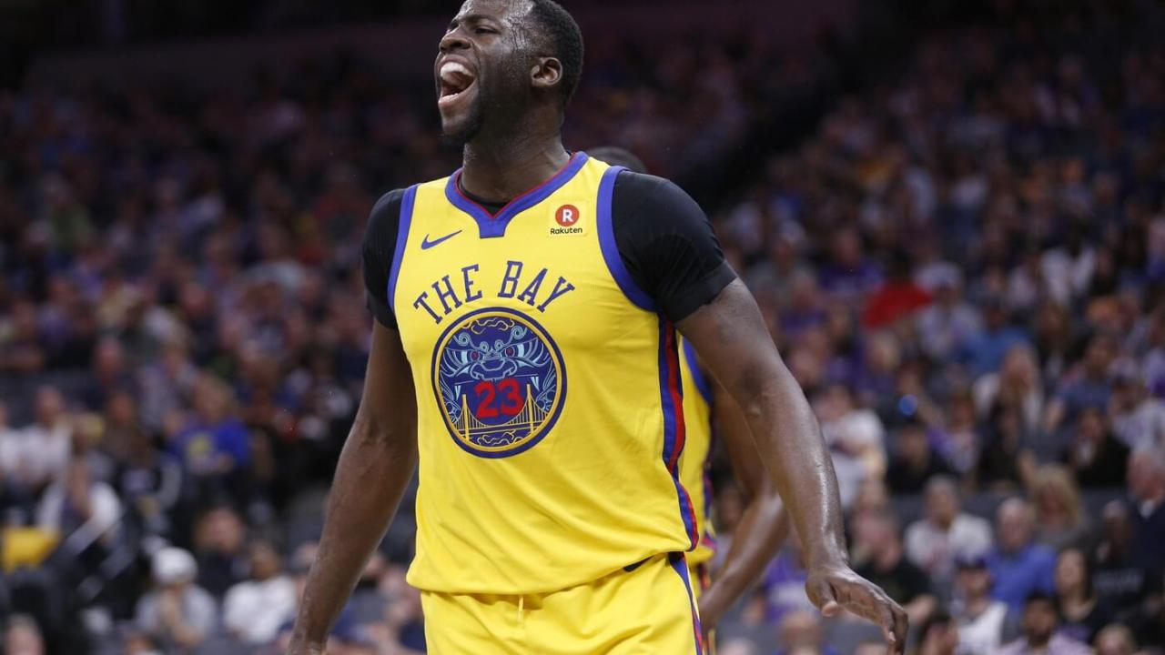 Mar 31, 2018; Sacramento, CA, USA; Golden State Warriors forward Draymond Green (23) reacts after making a defensive stop against the Sacramento Kings in the third quarter at the Golden 1 Center. Mandatory Credit: Cary Edmondson-USA TODAY Sports
