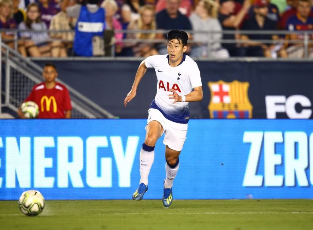 Jul 28, 2018; Pasadena, CA, USA; Tottenham Hotspur forward Son Heung-Min against FC Barcelona during an International Champions Cup soccer match at Rose Bowl. Mandatory Credit: Mark J. Rebilas-USA TODAY Sports