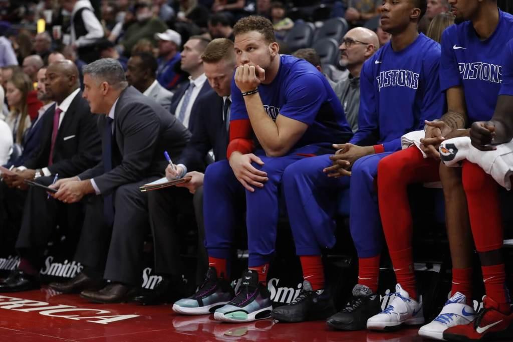 Dec 30, 2019; Salt Lake City, Utah, USA; Detroit Pistons forward Blake Griffin (23) sits the bench with an injury against the Utah Jazz at Vivint Smart Home Arena. Mandatory Credit: Jeffrey Swinger-USA TODAY Sports