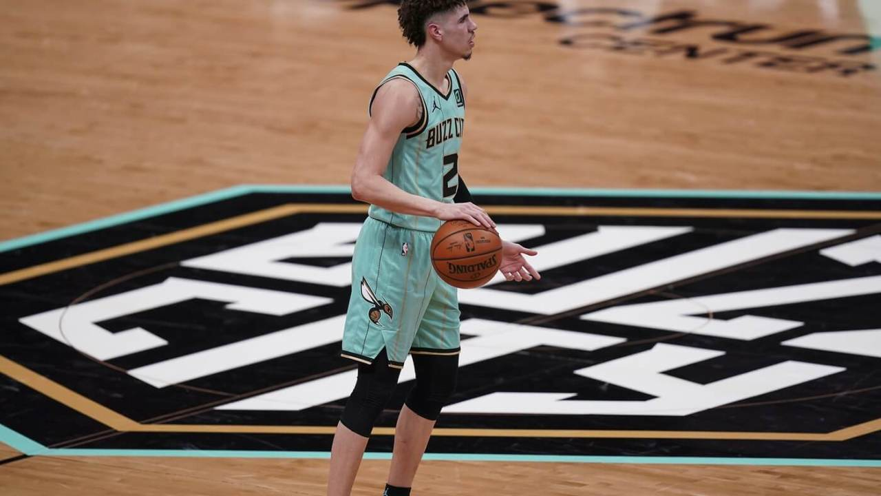 Jan 22, 2021; Charlotte, North Carolina, USA; Charlotte Hornets guard LaMelo Ball (2) brings the ball up court against the Chicago Bulls during the second quarter at Spectrum Center. Mandatory Credit: Jim Dedmon-USA TODAY Sports
