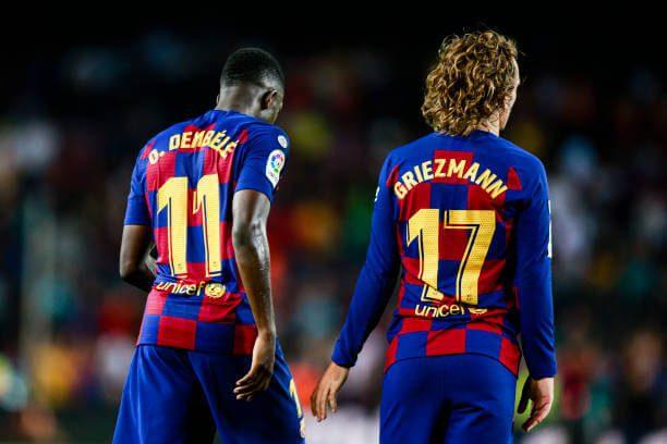11 Ousmane Dembele from France of FC Barcelona and 17 Antoine Griezmann from France of FC Barcelona during the La Liga match between FC Barcelona and Vilareal in Camp Nou Stadium in Barcelona 24 of September of 2019, Spain.
