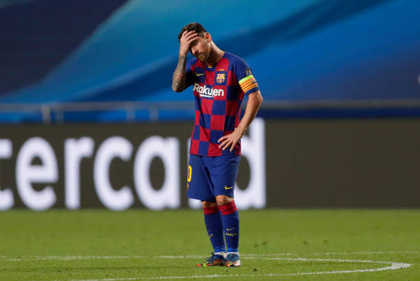 LISBON, PORTUGAL - AUGUST 14: Lionel Messi of FC Barcelona looks dejected during the UEFA Champions League Quarter Final match between Barcelona and Bayern Munich