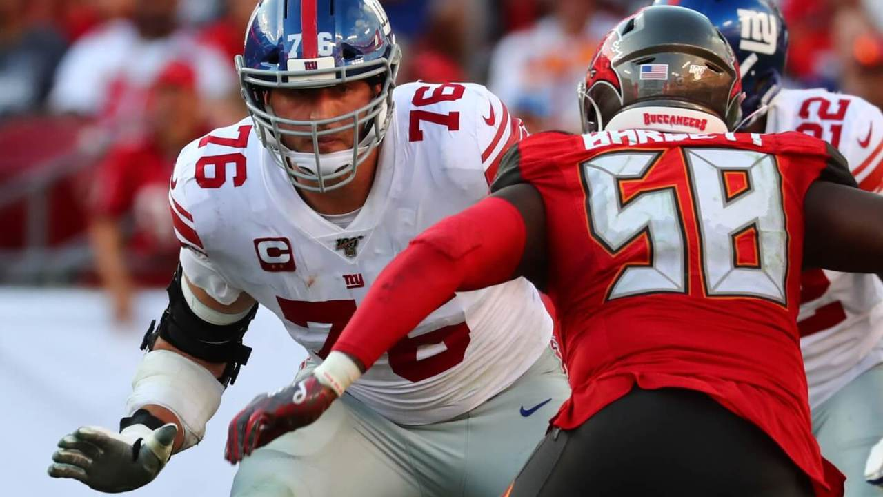 Sep 22, 2019; Tampa, FL, USA;New York Giants offensive tackle Nate Solder (76) blocks during the second half at Raymond James Stadium. Mandatory Credit: Kim Klement-USA TODAY Sports