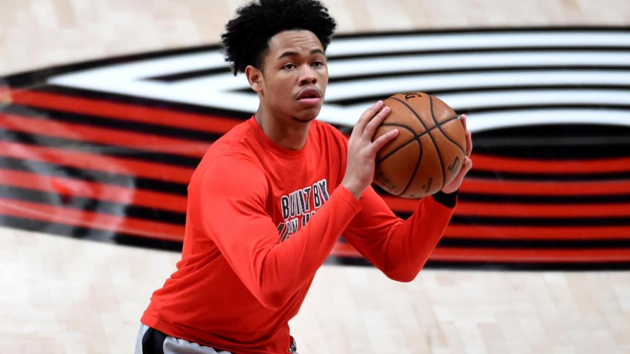 Feb 12, 2021; Portland, Oregon, USA; Portland Trail Blazers guard Anfernee Simons (1) warms up before the game against the Cleveland Cavaliers at Moda Center. Mandatory Credit: Steve Dykes-USA TODAY Sports