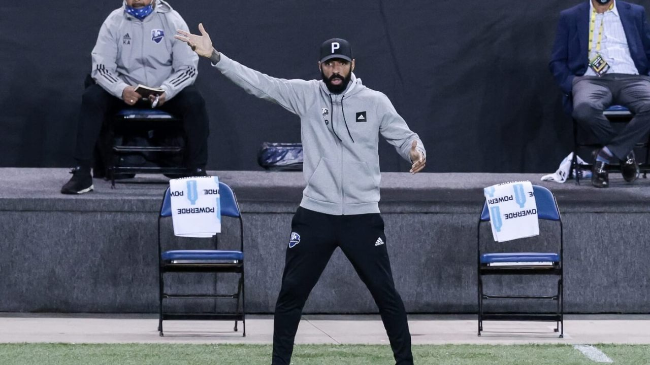 Oct 27, 2020; Harrison, New Jersey, USA; Montreal Impact head coach Thierry Henry reacts during the second half against Nashville SC at Red Bull Arena. Mandatory Credit: Vincent Carchietta-USA TODAY Sports