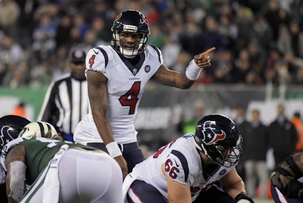 Dec 15, 2018; East Rutherford, NJ, USA; Houston Texans quarterback Deshaun Watson (4) gestures in the fourth quarter against the New York Jets at MetLife Stadium. The Texans defeated the Jets 29-22. Mandatory Credit: Kirby Lee-USA TODAY Sports
