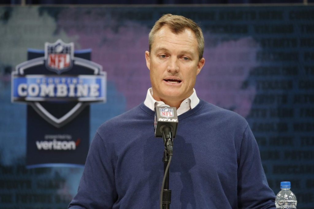 San Francisco 49ers general manager John Lynch speaks to the media during the NFL Combine at the Indiana Convention Center.