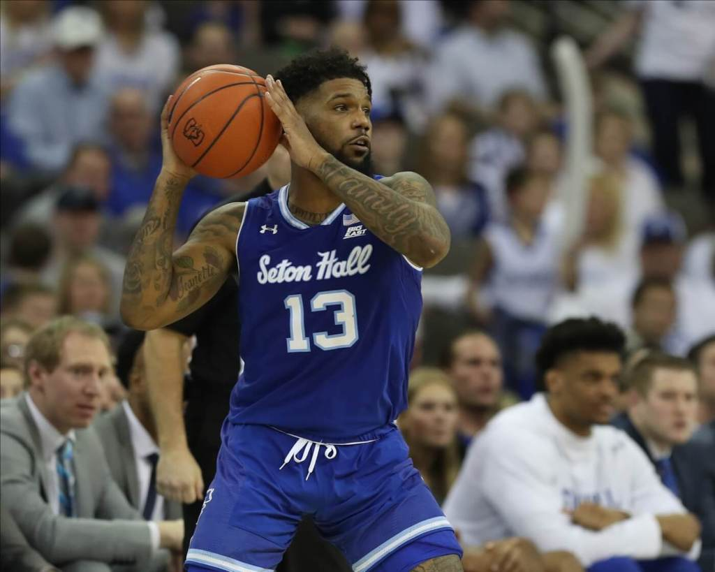 Seton Hall Pirates guard Myles Powell (13) looks to pass in their game against the Creighton Bluejays at CHI Health Center Omaha. Creighton beat Seton Hall 77 to 60