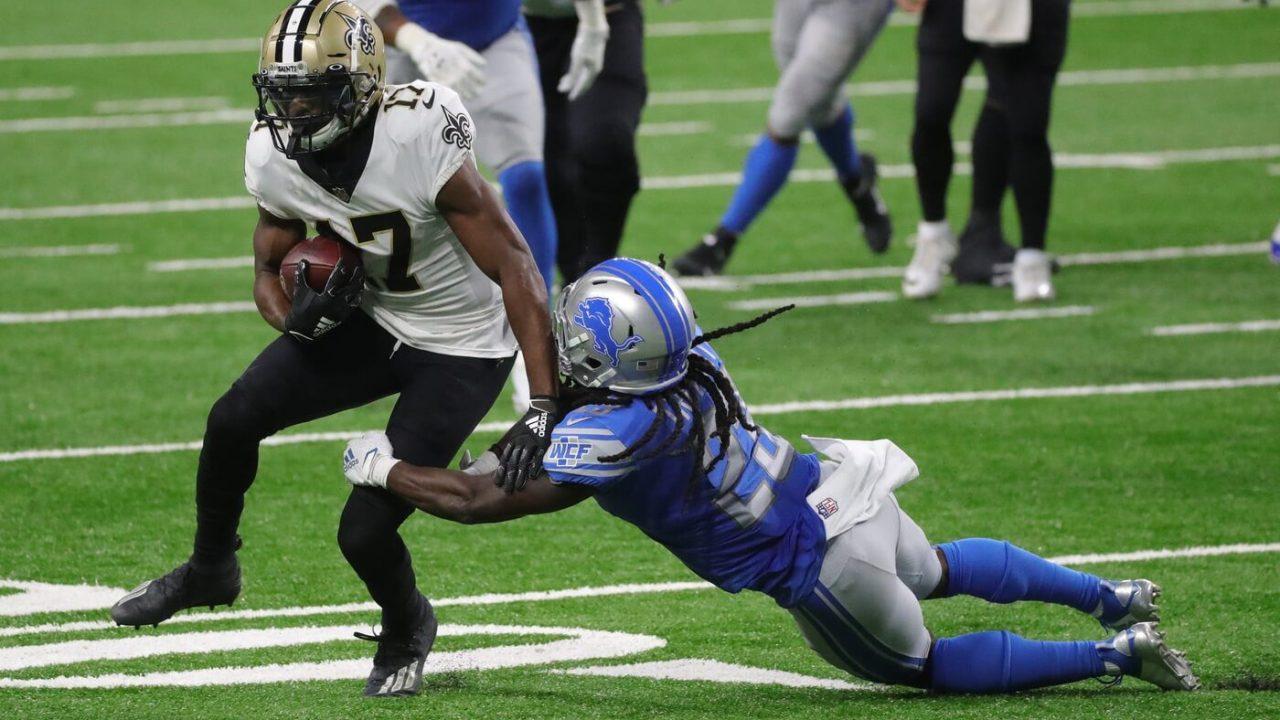 New Orleans Saints receiver Emmanuel Sanders runs by Detroit Lions cornerback Desmond Trufant during the second half Sunday, October 4, 2020 at Ford Field.
