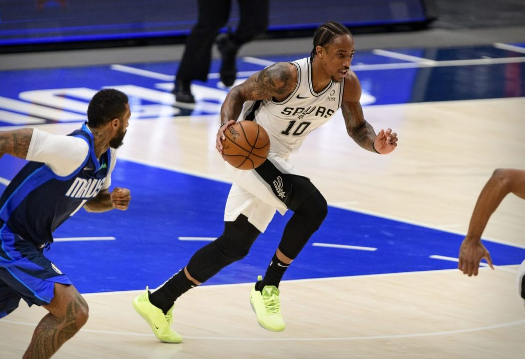 Mar 10, 2021; Dallas, Texas, USA; San Antonio Spurs forward DeMar DeRozan (10) in action during the game between the Dallas Mavericks and the San Antonio Spurs at the American Airlines Center. Mandatory Credit: Jerome Miron-USA TODAY