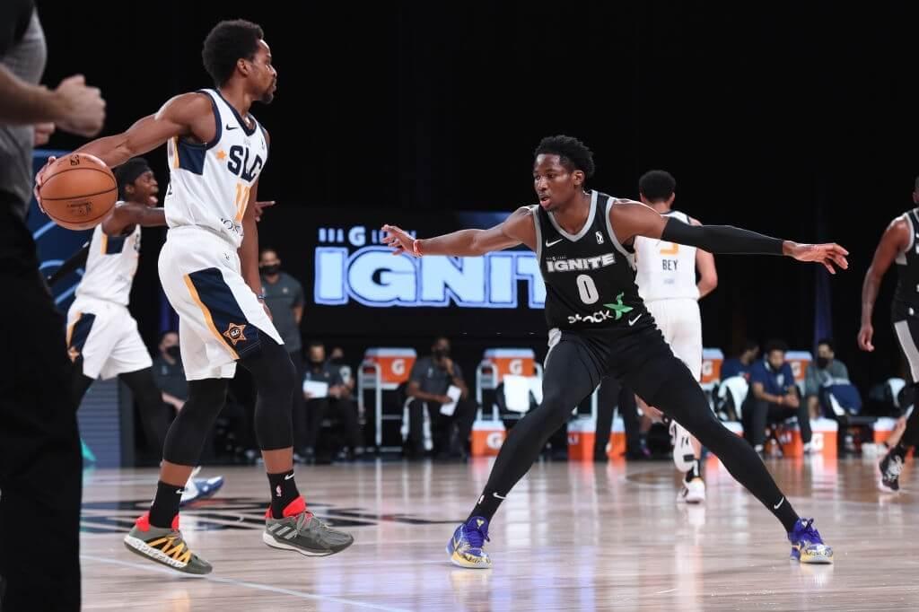 Jonathan Kuminga #0 of Team Ignite plays defense against the Salt Lake City Stars on February 26, 2021 at AdventHealth Arena in Orlando, Florida