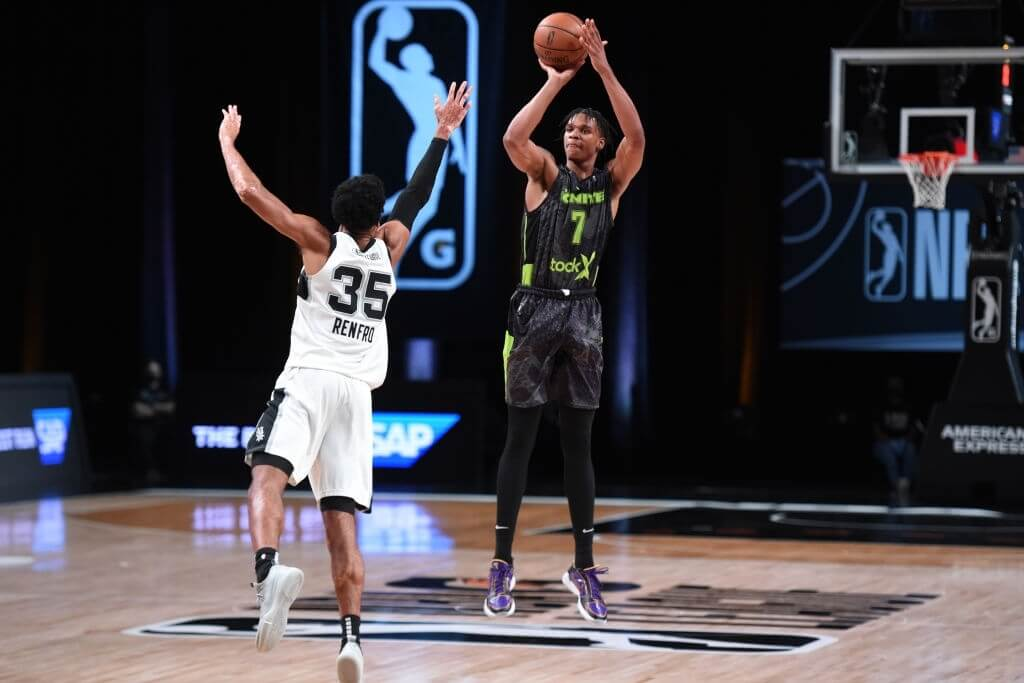 Isaiah Todd #7 of Team Ignite shoots three point basket against the Austin Spurs on March 6, 2021 at AdventHealth Arena in Orlando, Florida.