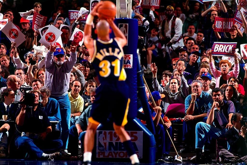 NEW YORK - MAY 7:  Reggie Miller #31 of the Indiana Pacers shoots a free-throw in Game One of the Eastern Conference Semifinals against the New York Knicks during the 1995 NBA Playoffs at Madison Square Garden on May 7, 1995 in New York, New York. The Pacers won 107-105. NOTE TO USER: User expressly acknowledges and agrees that, by downloading and/or using this Photograph, user is consenting to the terms and conditions of the Getty Images License Agreement. Mandatory Copyright Notice: Copyright 2007 NBAE (Photo by Noren Trotman/NBAE via Getty Images)