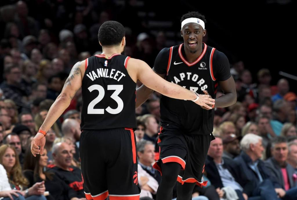 Nov 13, 2019; Portland, OR, USA; Toronto Raptors forward Pascal Siakam (43) celebrates with guard Fred VanVleet (23) after making a basket against the Portland Trail Blazers during the second half at Moda Center. The Raptors won 114-106. Mandatory Credit: Steve Dykes-USA TODAY Sports