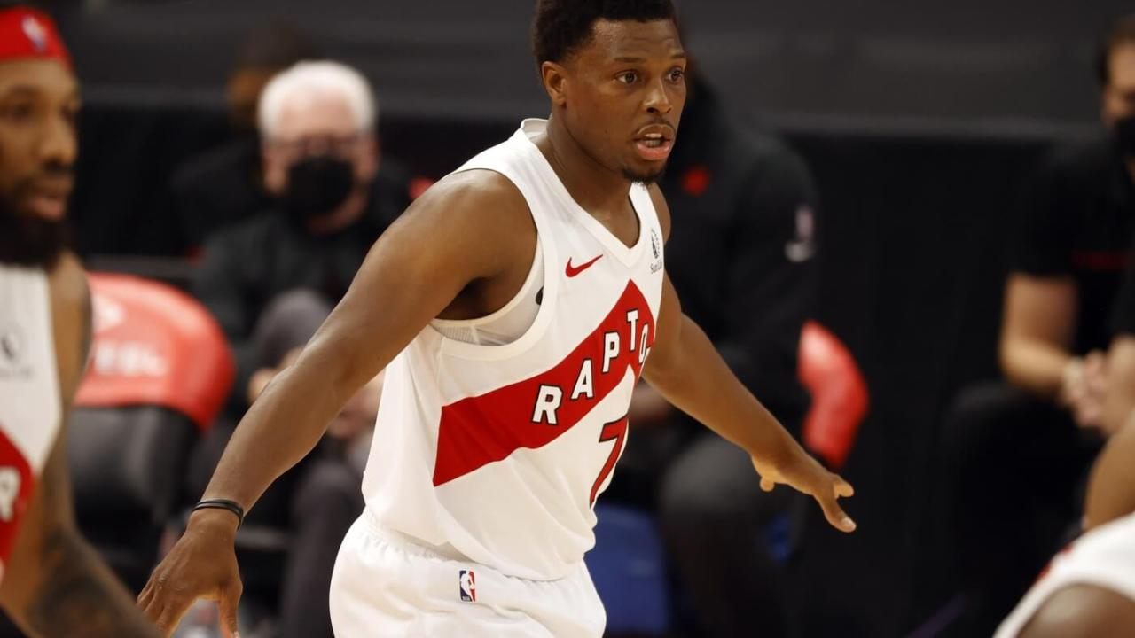 Mar 24, 2021; Tampa, Florida, USA; Toronto Raptors guard Kyle Lowry (7) against the Denver Nuggets during the second half at Amalie Arena. Mandatory Credit: Kim Klement-USA TODAY Sports