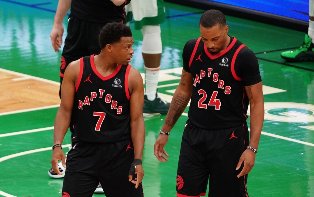Mar 4, 2021; Boston, Massachusetts, USA; Toronto Raptors guard Kyle Lowry (7) talks with guard Norman Powell (24) during a break in the action against the Boston Celtics in the third quarter at TD Garden. Mandatory Credit: David Butler II-USA TODAY Sports