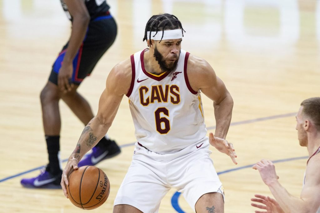 Feb 27, 2021; Philadelphia, Pennsylvania, USA; Cleveland Cavaliers center JaVale McGee (6) dribbles the ball against the Philadelphia 76ers during the first quarter at Wells Fargo Center. Mandatory Credit: Bill Streicher-USA TODAY Sports