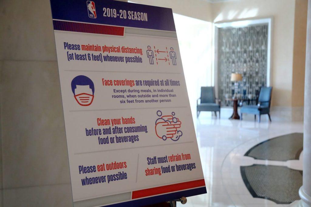Oct 8, 2020; Orlando, FL, USA; NBA COVID Testing signs are displayed at Waldorf Astroai. Mandatory Credit: Kim Klement-USA TODAY Sports
