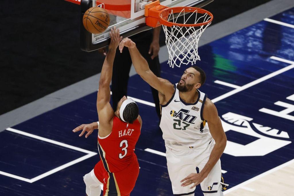 Jan 21, 2021; Salt Lake City, Utah, USA; New Orleans Pelicans guard Josh Hart (3) has his shot blocked by Utah Jazz center Rudy Gobert (27) in the fourth quarter at Vivint Smart Home Arena. Mandatory Credit: Jeffrey Swinger-USA TODAY Sports