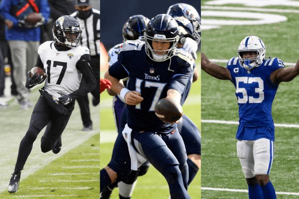 Jacksonville receiver D.J Chark (#17), Titans quarterback Ryan Tannehill (#17), Colts linebacker Darius Leonard (#53)