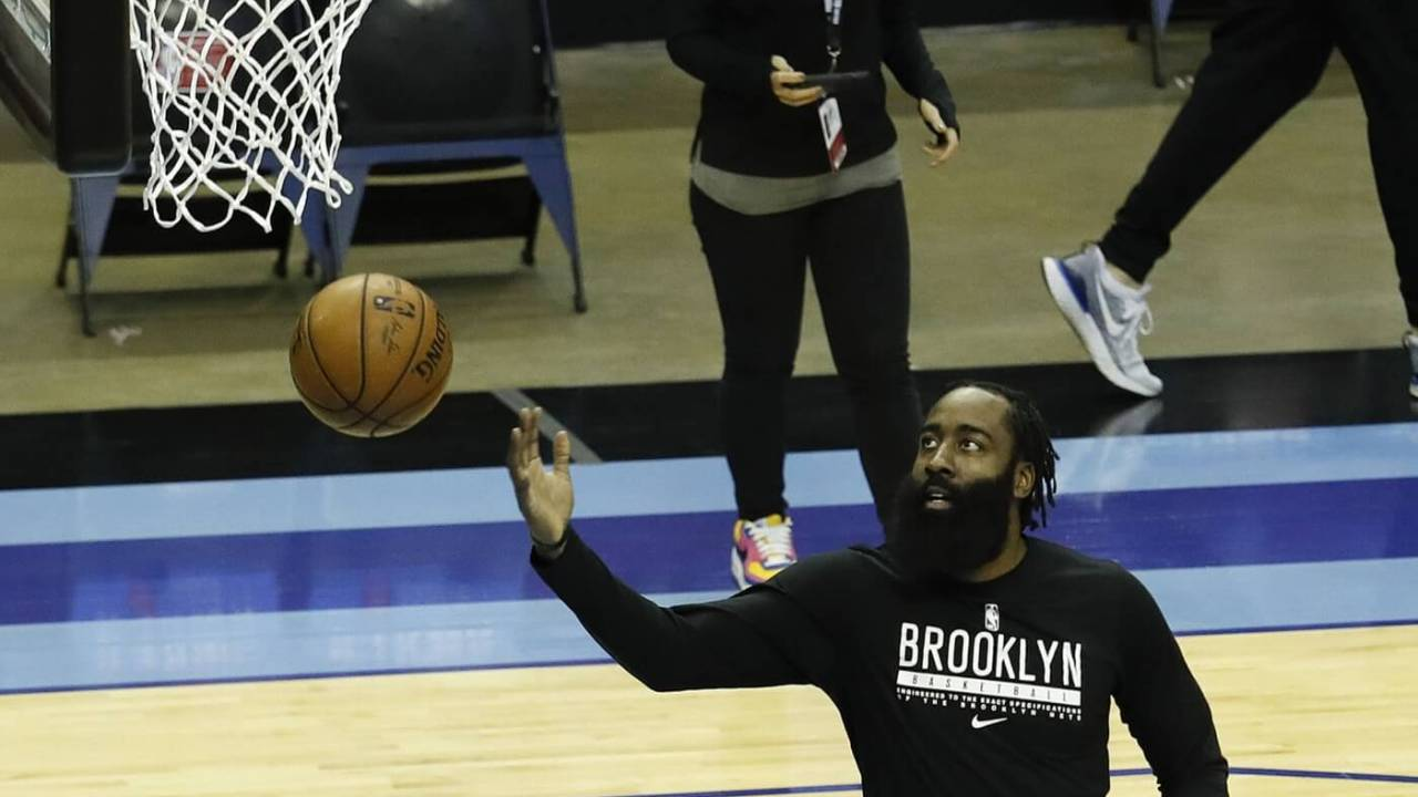 Mar 3, 2021; Houston, Texas, USA; James Harden #13 of the Brooklyn Nets warms up prior to playing the Houston Rockets at Toyota Center on March 03, 2021 in Houston, Texas. Mandatory Credit: Bob Levey-POOL PHOTOS-USA TODAY Sports
