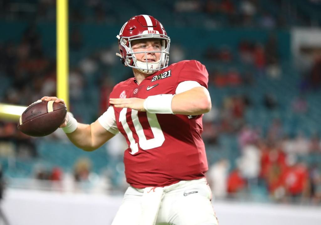 Jan 11, 2021; Miami Gardens, Florida, USA; Alabama Crimson Tide quarterback Mac Jones (10) against the Ohio State Buckeyes in the 2021 College Football Playoff National Championship Game. Mandatory Credit: Mark J. Rebilas-USA TODAY Sports