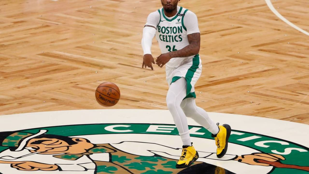 Jan 30, 2021; Boston, Massachusetts, USA; Boston Celtics guard Marcus Smart (36) passes against the Los Angeles Lakers during the first quarter at TD Garden. Mandatory Credit: Winslow Townson-USA TODAY Sports