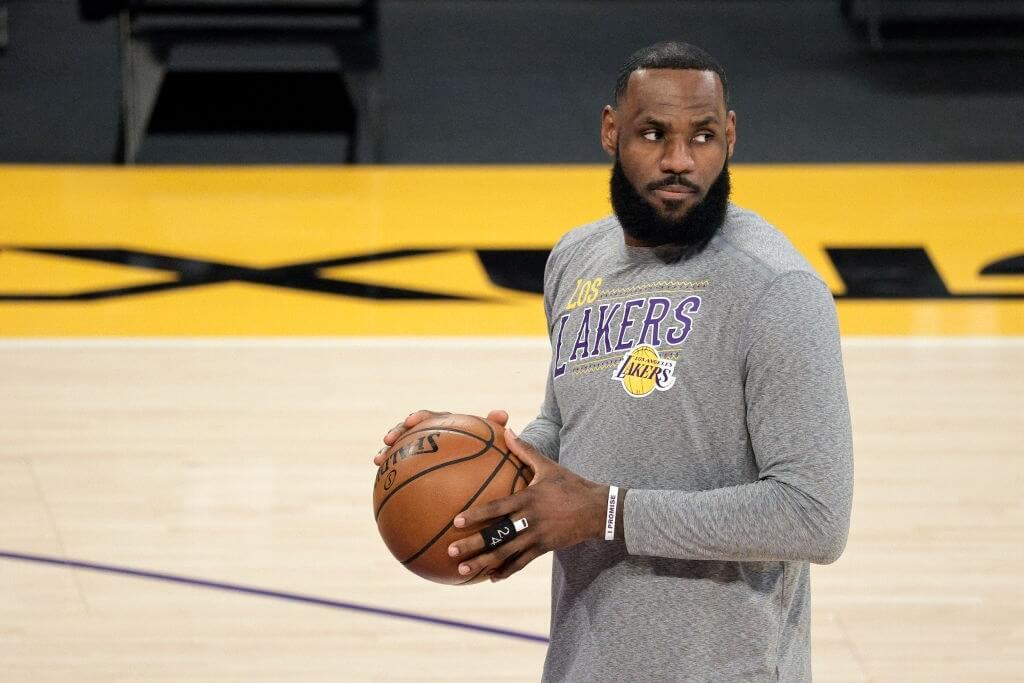 LOS ANGELES, CALIFORNIA - MARCH 20: LeBron James #23 of the Los Angeles Lakers warms up prior to a game against the Atlanta Hawks at Staples Center on March 20, 2021 in Los Angeles, California. NOTE TO USER: User expressly acknowledges and agrees that, by downloading and or using this photograph, User is consenting to the terms and conditions of the Getty Images License Agreement. (Photo by Michael Owens/Getty Images)