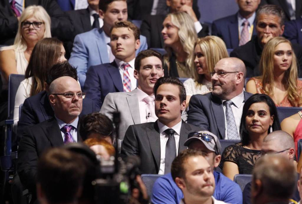 Family first: Matthews (centre) with his parents Brian and Ema. A Coyotes fan growing up, Matthews' favorite players were Shane Doan and Daniel Brière. Matthews was in attendance for this iconic goal! Little did he know that he'd one day be competing with Alex Ovechkin for the Maurice Rocket Richard Trophy.
