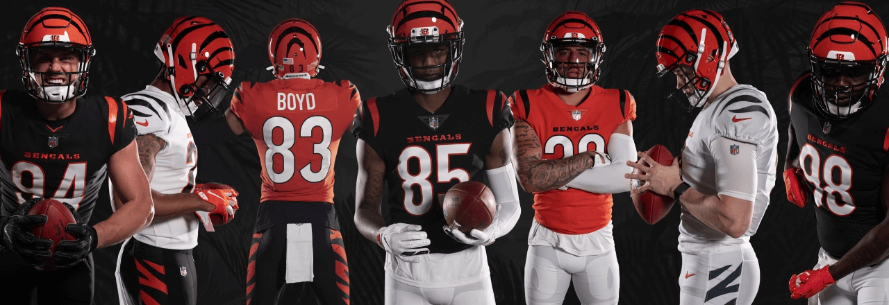The Bengals have a header which shows all the different jerseys that were released on Sunday
