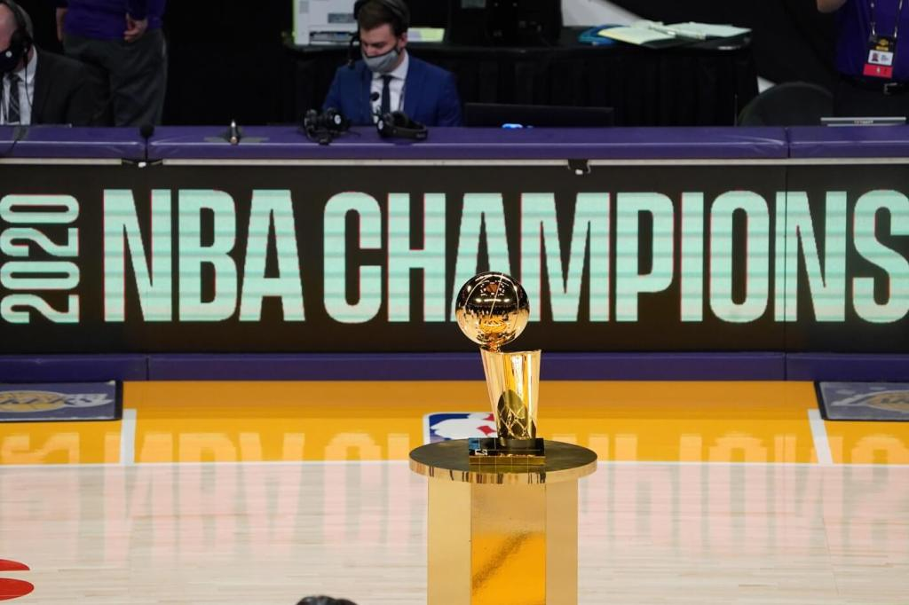 Dec 22, 2020; Los Angeles, California, USA; The 2020 NBA Championship Larry O'Brien trophy won by the Los Angeles Lakers is see on display before a game between the Lakers and the Los Angeles Clippers at Staples Center. Mandatory Credit: Kirby Lee-USA TODAY Sports