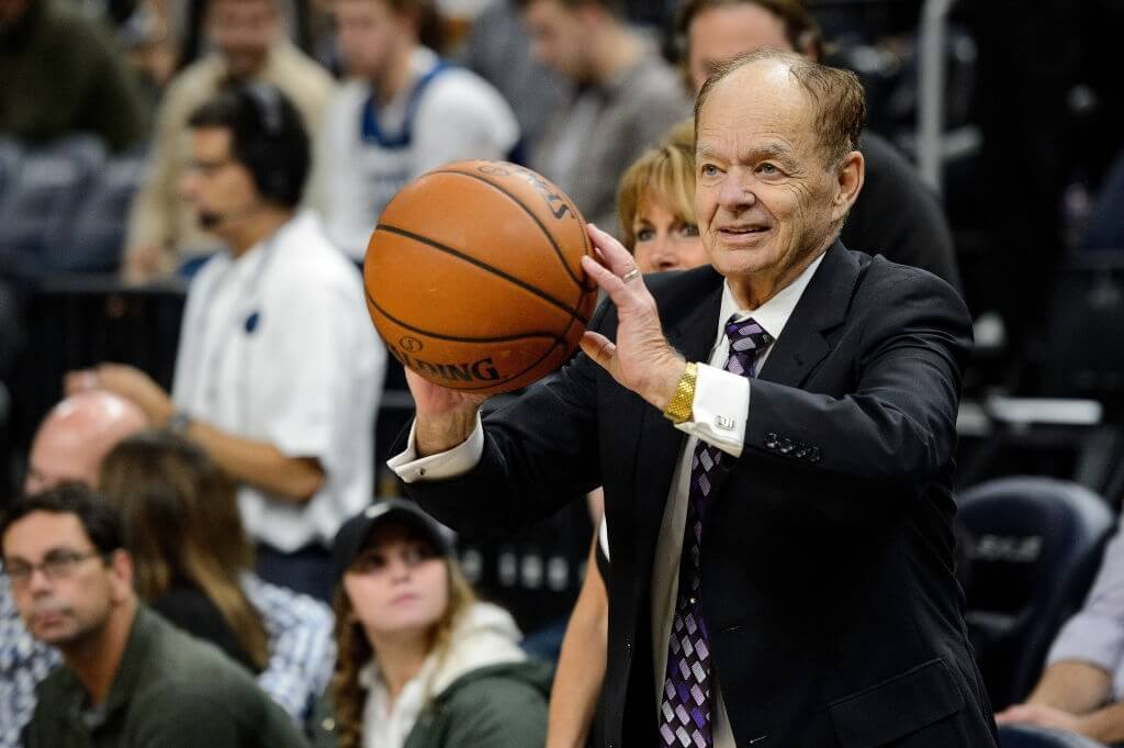 MINNEAPOLIS, MN - NOVEMBER 15: Glen Taylor, owner of the Minnesota Timberwolves passes a ball before the game between the Minnesota Timberwolves and the San Antonio Spurs on November 15, 2017 at the Target Center in Minneapolis, Minnesota. NOTE TO USER: User expressly acknowledges and agrees that, by downloading and or using this Photograph, user is consenting to the terms and conditions of the Getty Images License Agreement. (Photo by Hannah Foslien/Getty Images)
